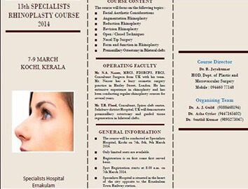 13th Specialists Rhinoplasty Course 2014 (07th - 09th March) at Specialists' Hospital